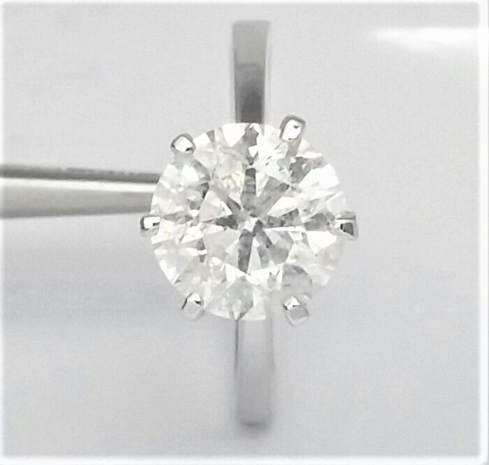 3.07 ct Diamond Ring - Solitaire - 14K White Gold  - size :  58, 18.5 mm , 8.5 ( USA )