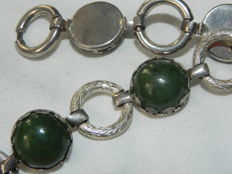 Beautiful bracelet in 835 silver jade nephrite