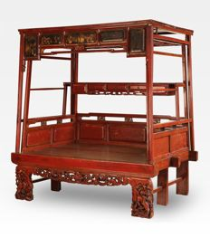 Antique Carved and Lacquered  Canopy Bed - China - ca. 1720 ( Kangxi period )
