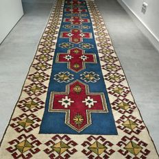 Special, semi antique, Anatolian Persian runner - 337 x 87 - unique design, great appearance - with certificate