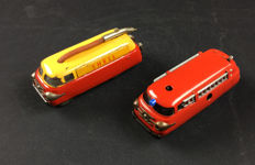"Schuco, Western Germany - Length 11 cm - ""Varianto Radiant-Service Shell"" 5601 and ""Varianto"" Firemen 3047 with battery/mechanism, 1960s"