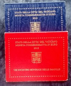 "Vatican, 2 Euro 2014/2015 ""Berlin wall - Family Day"" - 2 pieces"