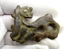 Iron Age (Celtic) bronze zoomorphic mount / fitting shaped as Lion - 50x38 mm
