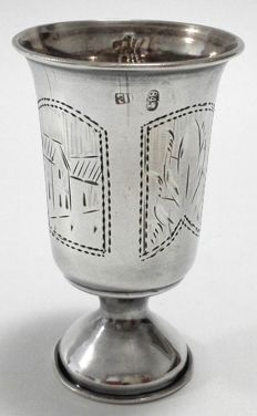 Silver wine cup with floral engraved decor, Russia, Kiev (Postnikova-Loseva #576), ca. early 20th century