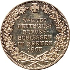 Old Germany, Bremen - thaler 1865 for the 2.  union shooting festivities