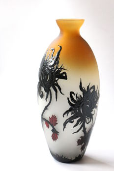 Luciano Canal - Painted vase 'Black Flower'