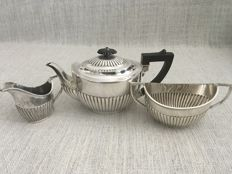 Ornate vintage three piece silver plated tea set with half fluted design. Makers initials. B.B.S.LTD ENGLAND Second Half Of 18th century