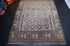 Handwoven vintage carpet Afghan nomads' Kilim approx. 279 x 217 cm, good condition Afghanistan antique 2-coloured