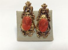 Victorian Earrings 14k gold, carved in authentic red coral