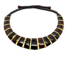 Wide collar necklace Baltic amber slices (not pressed) - length 46 cm- width 23 mm