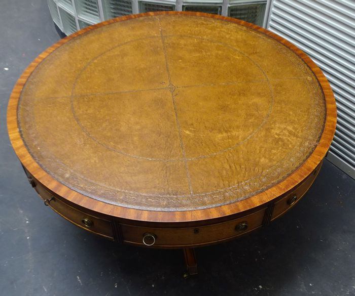 Wood Coffee Table With Drawers Large Coffee Table With: Large Round Wooden Coffee Table With Four Drawers, Mid