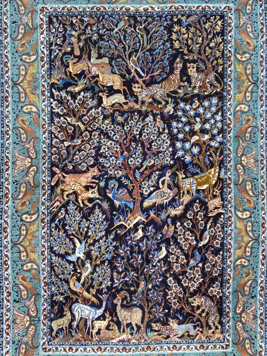 ISFAHAN with animals and small trees - approx. 1,000,000 knots per square metre - approx. 181 x 115cm - Persian - with certificate of authenticity - the condition is VERY GOOD!