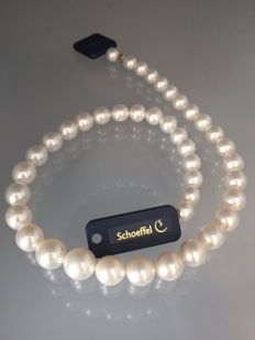 Schoeffel loose pearl string, 42 cm with white South Sea pearls, size 9.0-12.3