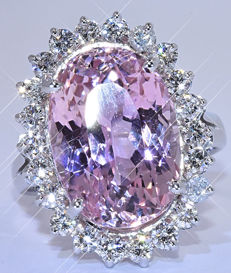 12.27 Ct Pink Kunzite with Diamonds ring - NO reserve price!