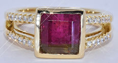 3.13 ct watermelon Tourmaline with Diamonds ring - NO reserve price!
