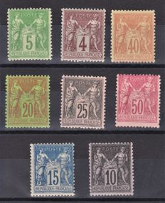 France 1876/1900 - Eight Sage stamps - Yvert no. 75, 88, 94, 96, 97, 98, 101, 103