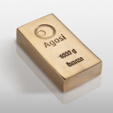 1 kg brand new bronze bar from Agosi precious metals refinery