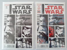 Marvel Comics - Star Wars #21 Cover C Incentive 1:100 David Aja Sketch Cover + Star Wars #21 Cover A Regular David Aja Color Cover (2016)