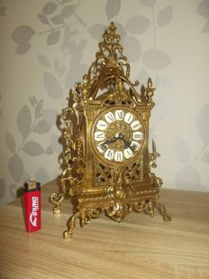 Beautiful Detailed Bronze table clock FHS (Frans Hermle) Germany - 2nd half 20th century