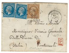 France 1860 – Letter departure from Ajaccio, Corsica, for Pontremoli, Italy – Yvert No. 13A and 14A