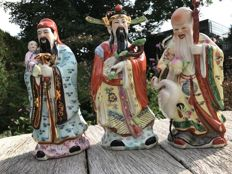 Fu Lu Shou are the three Chinese gods of luck, porcelain Chinese figures of the three wise men - China - 2nd half of 20th E