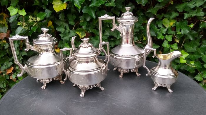 German silver-plated tea and coffee set ca. 1880s