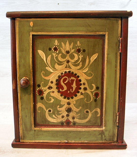 Antique wall cabinet with storage box - the Netherlands - early 1900 - Antique Wall Cabinet With Storage Box - The Netherlands - Early 1900