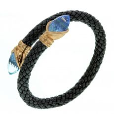 "Chimento - ""Stretch"" bracelet, black ceramic with topaz - Wrist size 18 - 20 cm"