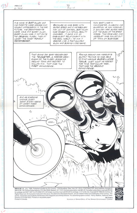 Original Art Page By Craig Rousseau And Barbara Kaalberg - DC Comics - Impulse #39 - Page 1 (1998) - Title Splash