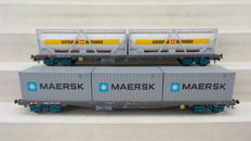 """HAG H0 - 366/398  - Two four axle flatcars Sgss and Sgs ,with containers from """"Maersk"""" and """"Bertschi"""" of the SBB"""