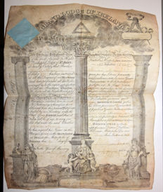 Freemason Certificate, Ireland April 21st, 1837 and two certificates of good services for the 13th light dragoons regiment (1839 1835)!