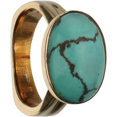 14 kt - Yellow gold ring set with turquoise stone - Ring size: 17.5 mm