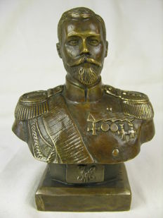 Unknown artist - bronze - bust of Russian Tsar Nicholas II - 2. half of the 20th century or older
