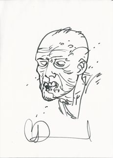 Charlie Adlard - original sketch - Zombie -The Walking Dead - Image Comics