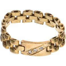 14 kt Yellow gold rolex ring set with 3 brilliant cut diamonds of approx. 0.02 ct each - Ring size: 20.5 cm.