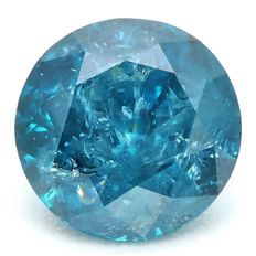 0.99 ct - Fancy Intense Greenish Blue diamond - IGI Certificate