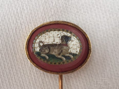 Antique 14 karat gold tie-clip with pietra dura/micro-mosaic depiction of a dog lying down.