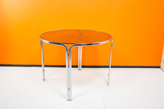 Vintage glass & chrome dining table