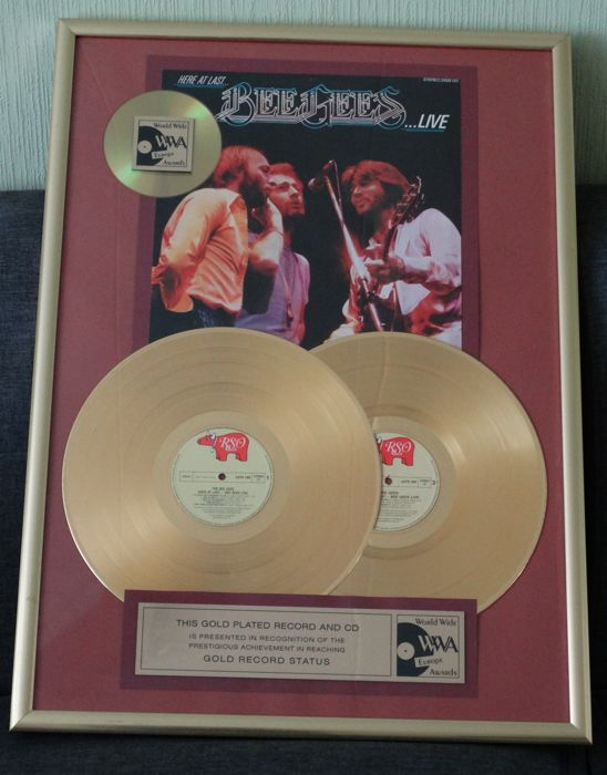 The Bee Gees Double Gold record Award disc Here at last Live