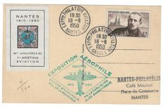 France 1950 - 40th anniversary of the 1st Nantes aerophilic exhibition