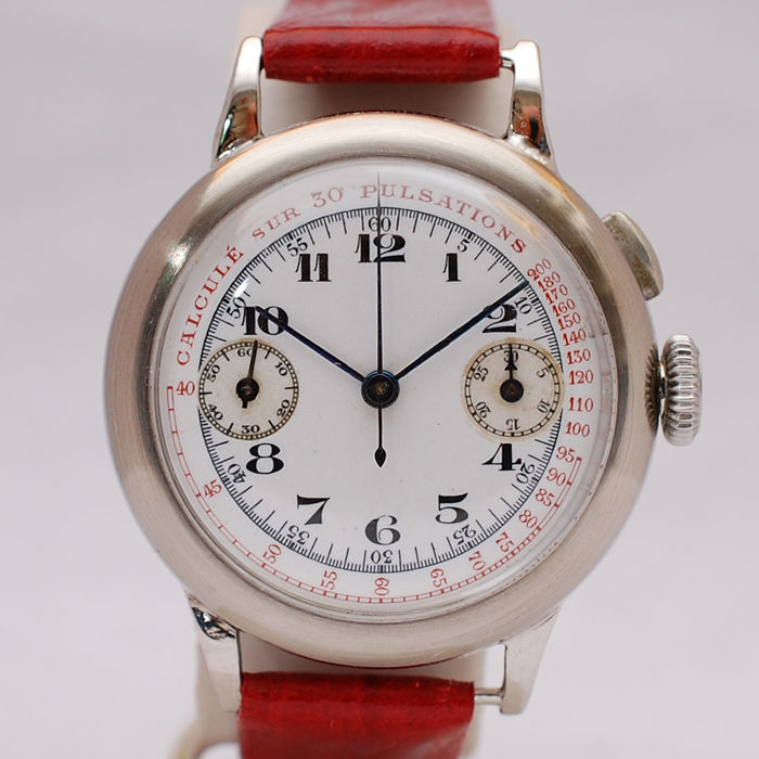A Very Rare WWI Single Button Chronograph With Enamelled Dial, Valjoux 13 - Gent's Watch - 1910's