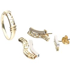 14 kt bi-colour yellow/white gold set consisting of: a ring, earrings and a pendant with a Greek motif