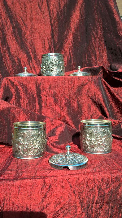 3 Silver plated multi functional boxes, Herman Hooijkaas commissioned by DE, circa 1960. NL..