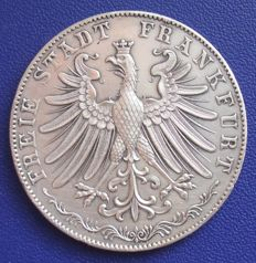 Altdeutschland, Frankfurt – commemorative double guilder 1855 to mark the third secular celebration of religious peace – silver