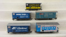Bemo H0e/H0m - 3265 126/2274 337/2282 172/2274 317/2274 318 - 5 narrow gauge freight cars with advertising of the RhB and MOB