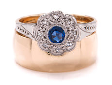 Certified gold & platinum rings set with sapphire and diamonds. 0.18 ct **No Reserve Price **