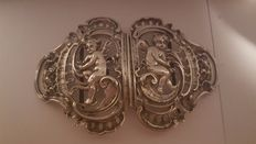 Large silver buckle with putti - Germany - late 19th century