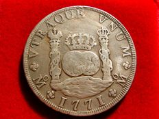 Spain - Carlos III - 8 silver reales struck in Mexico in 1771. Assayer F.M. Columnario style, beautiful piece.