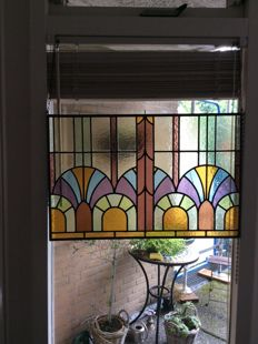 Beautiful Art Deco mosaic SunCatcher with soft colours vaulted stained glass - approx. 1920