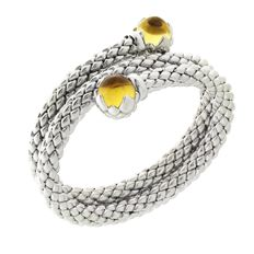"Chimento - ""Stretch"" silver, double stretch bracelet with citrine - wrist size 17 cm"